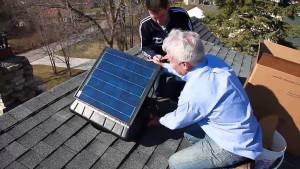installed solar fan